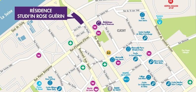 Map Residence Studiin Rose Guerin